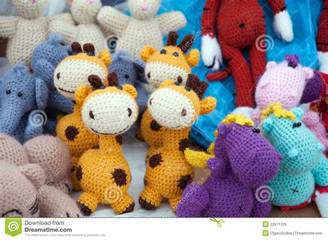 Handmade Knitted Toys - knitted soft toys handmade royalty free stock photo