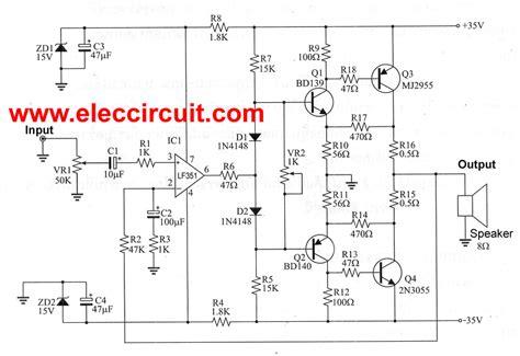 2n3055 transistor lifier circuits 50w ocl lifier using lf351 2n3055 mj2955 pcb
