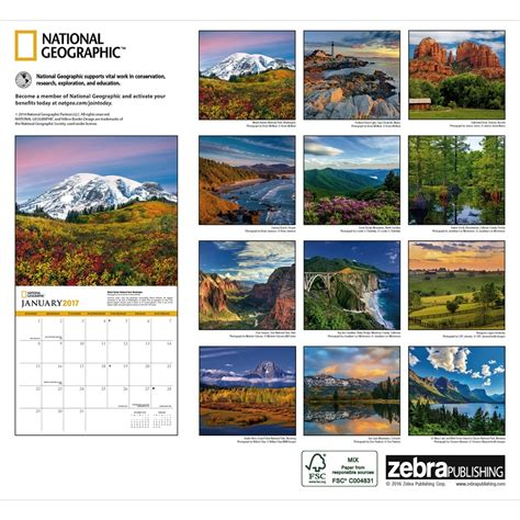 National Calendar National Geographic American Landscapes Wall Calendar