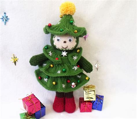 christmas tree doll toy knitting pattern christmas