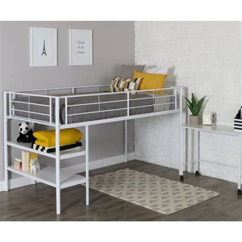 White Metal Bunk Beds With Desk For Children White Metal Loft Bed With Desk