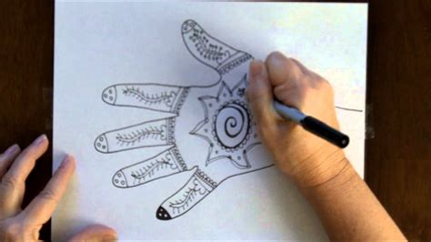 hand pattern art lesson how to draw a henna mehndi hand design free art lesson