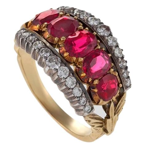 antique ruby silver top gold ring for sale