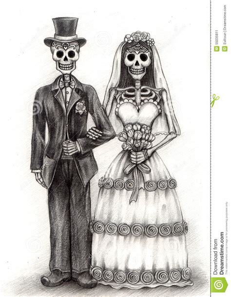 Dead Wedding Animation by Skull Wedding Day Of The Dead Drawing On Paper