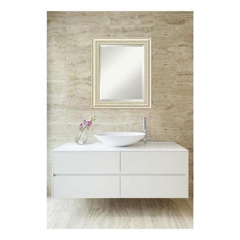whitewash bathroom deco mirror 25 in x 31 in travertine mosaic oval mirror
