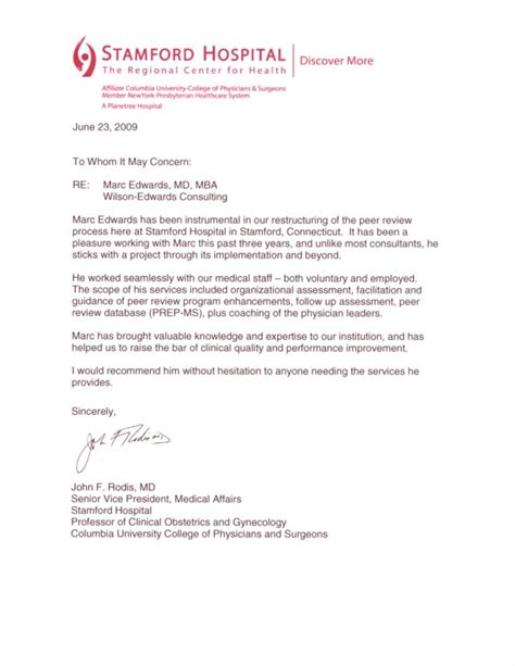Recommendation Letter For Hospital Testimonial Letter Dr Rodis