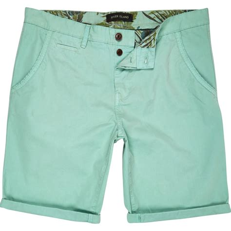light green chino lyst river island light green chino shorts in green for