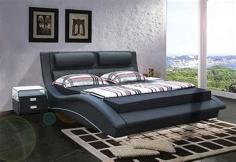 stylish bedroom furniture black leatherette modern stylish bed w padded headboard