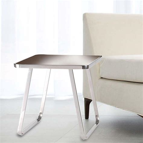 stainless steel end table kenroy home chambers stainless steel and espresso glass
