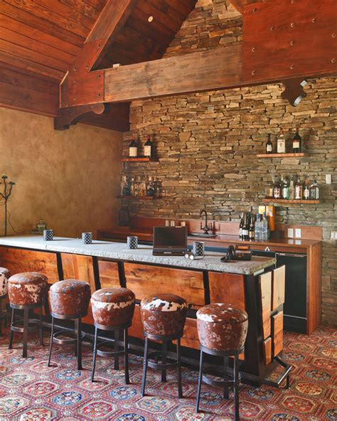 Rustic Bar Top Mesquite Bar Top Shelving In A Rustic Room