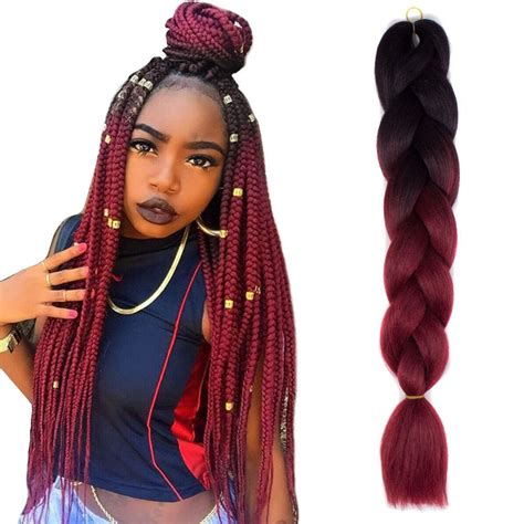 ombre braiding hair 24 quot black wine red jumbo braids hair ombre synthetic