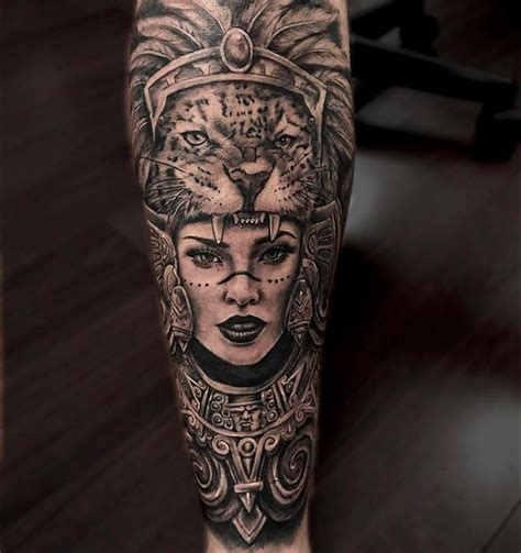 aztec woman tattoo by fernando gonzalez