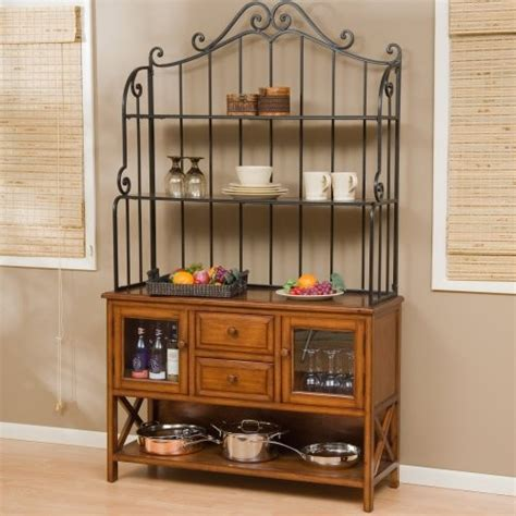Kitchen Bakers Rack Cabinets | hton wood bakers rack heritage oak traditional