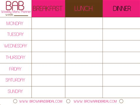 food planning template weekly menu template