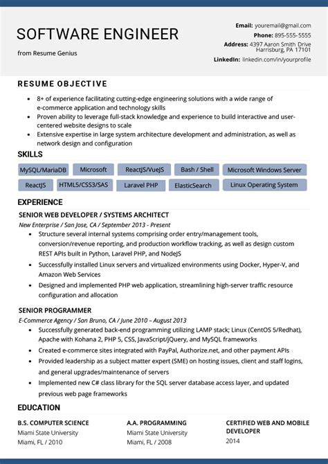cv format for software engineer oyle kalakaari co