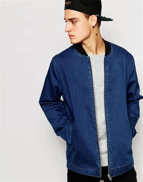 denim bomber jacket mens jacketin