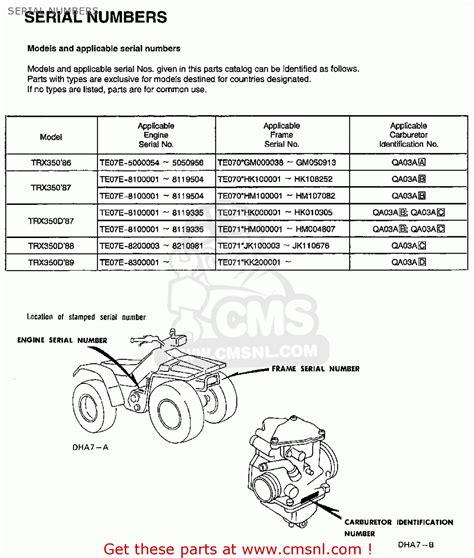 Suzuki Part Number Lookup Honda Trx350 Fourtrax 4x4 1986 G Usa Serial Numbers