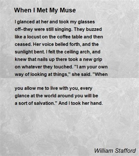 be my images when i met my muse poem by william stafford poem