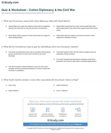 Cotton In The South Worksheet Answers quiz worksheet cotton diplomacy the civil war
