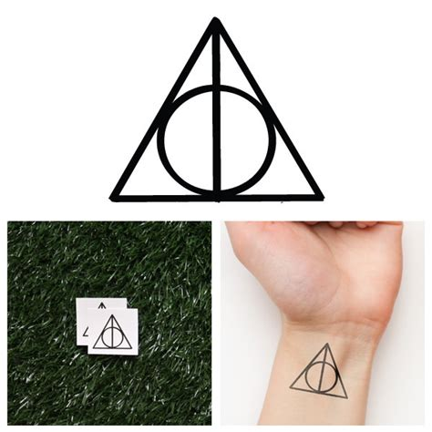 harry potter deathly hallows temporary tattoo set of 2