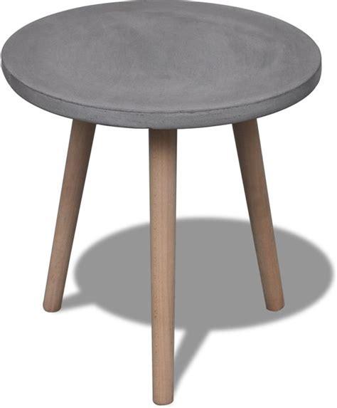 beton tafelblad bol rond tafeltje met betonnen tafelblad en eiken poten