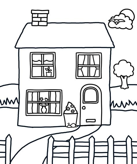 a coloring page of a house people and jobs coloring pages for kids houses colouring