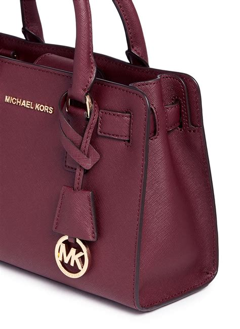 Mk Saffiano Small Satchel 1 michael kors small saffiano leather satchel in purple lyst