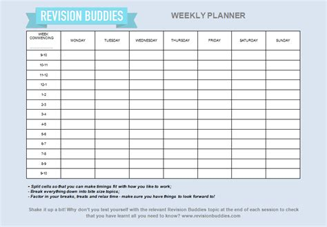 printable revision planner some helpful hints for creating your gcse revision planner