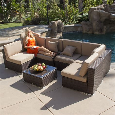 7 wicker sectional sofa 7pc outdoor patio rattan wicker furniture aluminum
