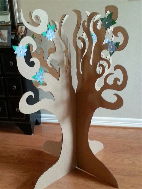How Do They Make Paper Out Of Trees - 3d cardboard tree with paper flowers by thepapercarousel