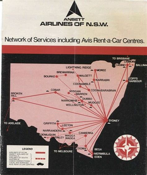 ansett airlines  nsw timetable  route map