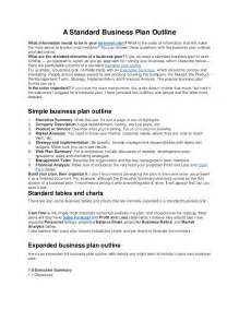 Standard Business Proposal Template A Standard Business Plan Outline
