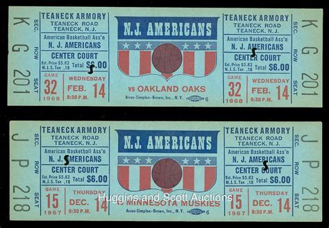 (2) 1967 New Jersey Americans ABA Full Tickets ? Only Season