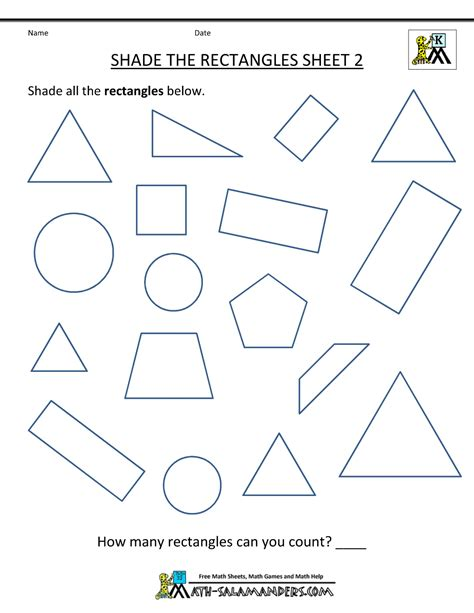 Printable Geometry Worksheets by Free Shape Worksheets Kindergarten