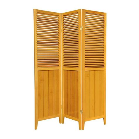 Indoor Privacy Screen Living Room Furniture Shop Furniture 3 Panel Honey Wood Folding Indoor