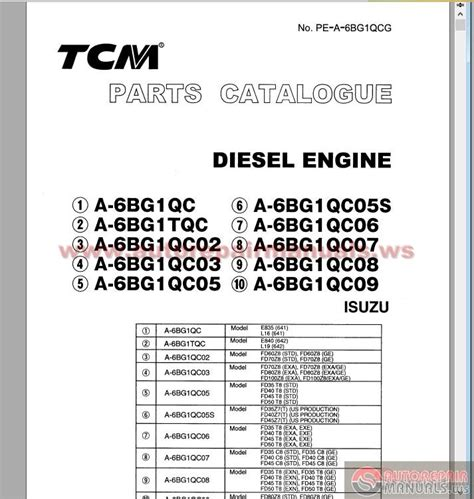 free download parts manuals 2006 isuzu i series electronic toll collection tcm diesel engine a 6bg1 series isuzu parts catalog auto repair manual forum heavy equipment