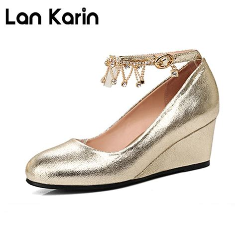 Gold Bridal Wedges by Lankarin Brand 2017 New Gold Wedding Shoes