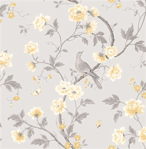 grey wallpaper yellow birds colours dorthea soft grey floral mica effect wallpaper