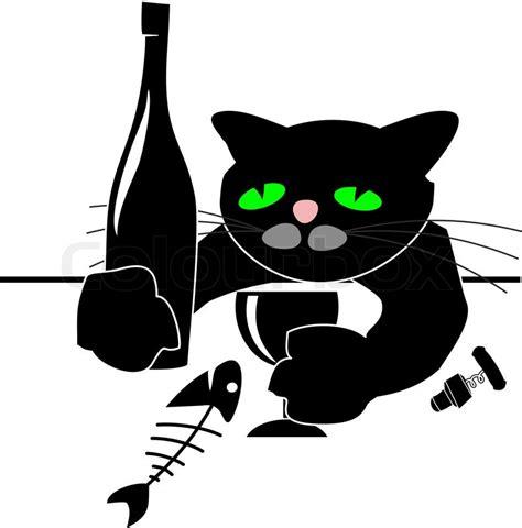 Cat Glass Table Drunken Schwarze Katze Mit Weinflasche Fisch Und Glas Am