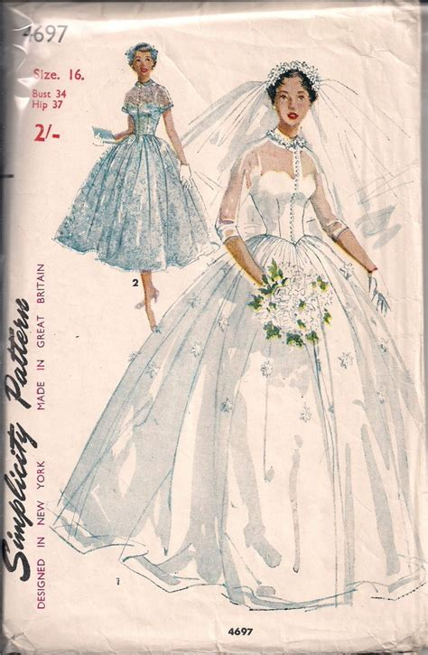 vintage pattern sizing vintage bridal gown sewing pattern s4697 size 11 14 16