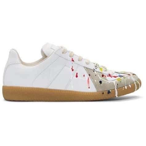 maison martin margiela paint splatter sneakers lyst maison margiela white paint splatter replica