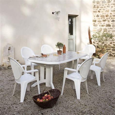 table blanche jardin table de jardin grosfillex blanche