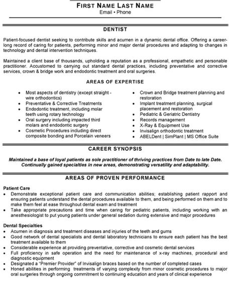 Resume Templates General Dentist Senior Dentist Resume Sle Template
