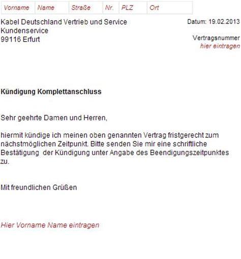 Musterbrief Beschwerde Kabel Deutschland K 252 Ndigungsschreiben Kabel Deutschland