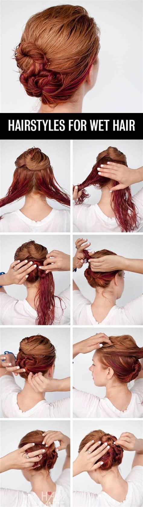 hairstyles to do when your hair s wet quick hairstyle for wet hair alldaychic