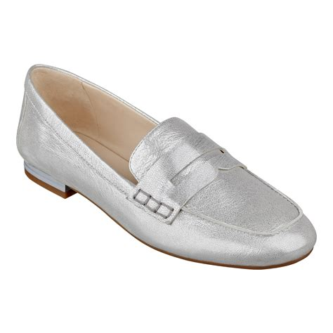 silver loafer nine west linear loafers in silver silver metallic lyst