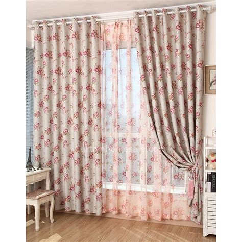 country floral curtains fit country floral printed pink style thermal lining curtains