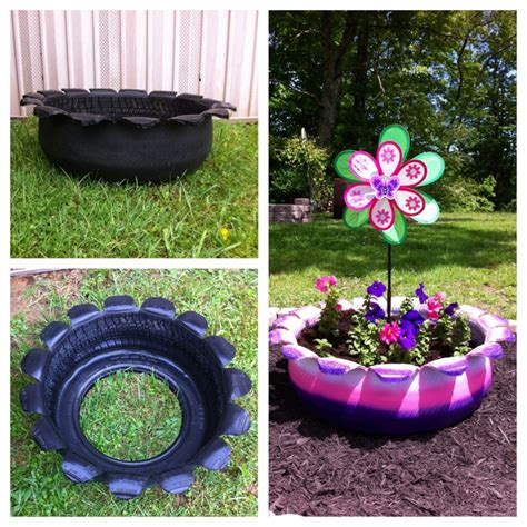 recycled tire to flower bed tires pinterest