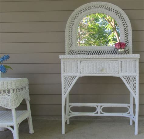 Wicker Vanity by Wicker Vanity Table White By Theprettyvintageshop