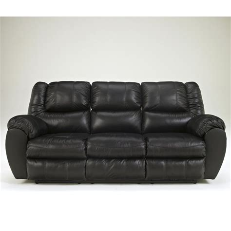 Signature Design by Ashley Furniture McAdams Leather Reclining Sofa in Black   9230188
